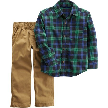 Carters Toddler Boys Plaid Pocket Pants Set