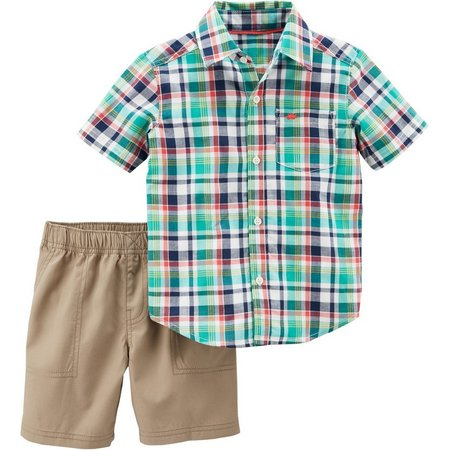 Carters Toddler Boys Plaid Pocket Shorts Set