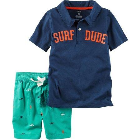 Carters Toddler Boys Surf Dude Polo Shorts Set