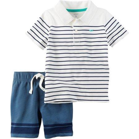 Carters Toddler Boys Stripe Polo Shorts Set