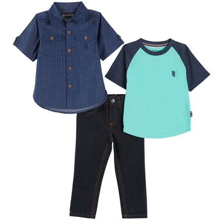English Laundry Toddler Boys 3-pc. Raglan Jean Set