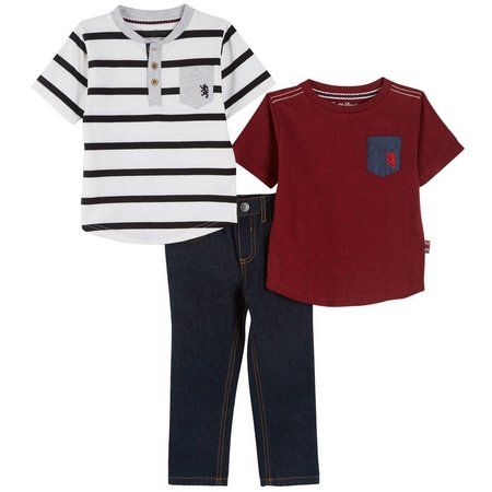 English Laundry Toddler Boys 3-pc. Stripe Jean Set