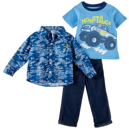 Nannette Toddler Boys 3-pc. Monsta Truck Pants Set