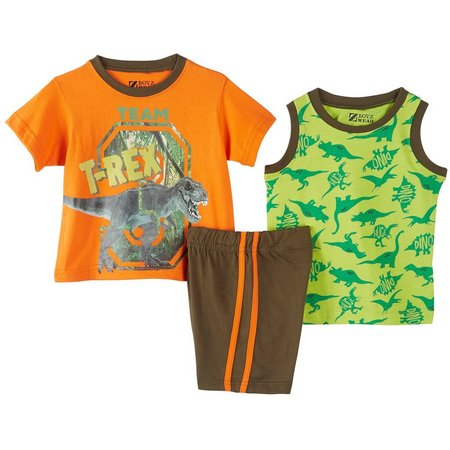 New! Boyz Wear Toddler Boys 3-pc. T-Rex Shorts