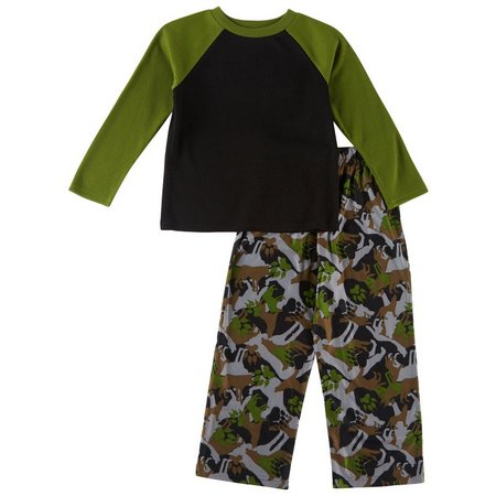 Komar Kids Big Boys Animal Camo Pajama Set