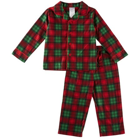 Candlesticks Little Boys Holiday Plaid Pajama Set