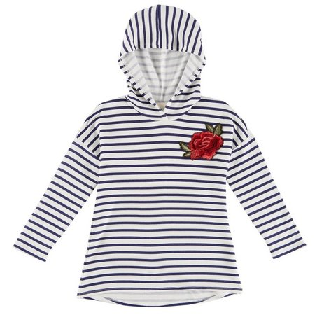 Lily Bleu Little Girls Stripe Floral Hoodie