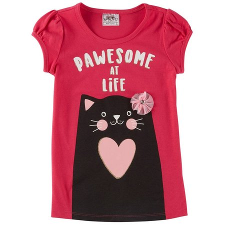 Beautees Little Girls Pawesome At Life T-Shirt