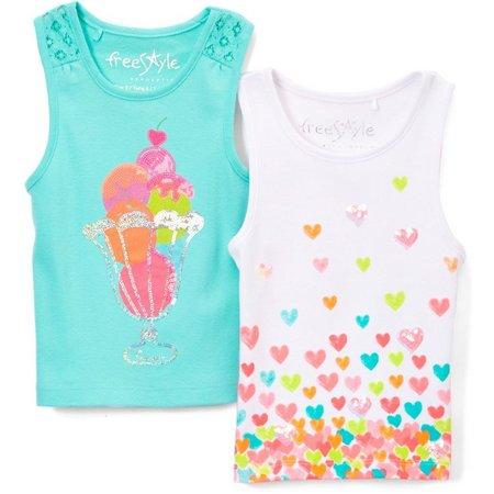 Freestyle Little Girls 2-pk. Hearts Tank Tops