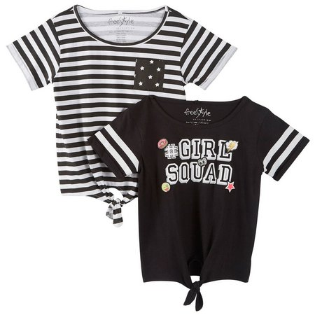 Freestyle Little Girls 2-pk. Girl Squad T-Shirts
