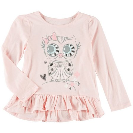 Kidtopia Little Girls Mix Match Owl Top