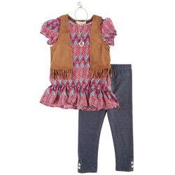 Self Esteem Little Girls Fringe Vest Leggings Set
