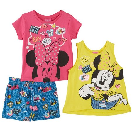 New! Disney Minnie Mouse Little Girls 3-pc. Shorts