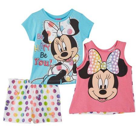 New! Disney Minnie Mouse Little Girls 3-pc. Tank
