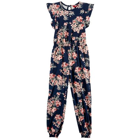 1st Kiss Little Girls Floral Flutter Sleeve Jumpsuit
