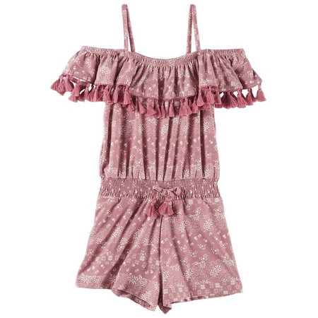 1st Kiss Little Girls Floral Off Shoulder Romper