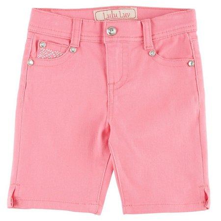 1st Kiss Little Girls Studded Bling Bermuda Shorts