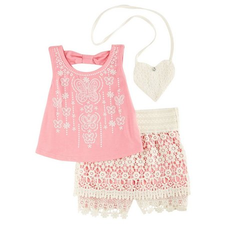 Beautees Little Girls 2-pc. Crochet Shorts Set