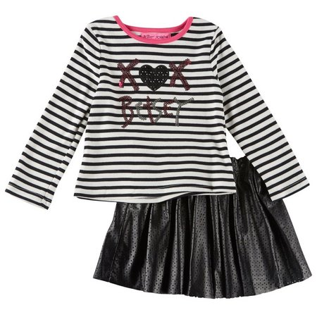 Betsey Johnson Little Girls Stripe Skirt Set