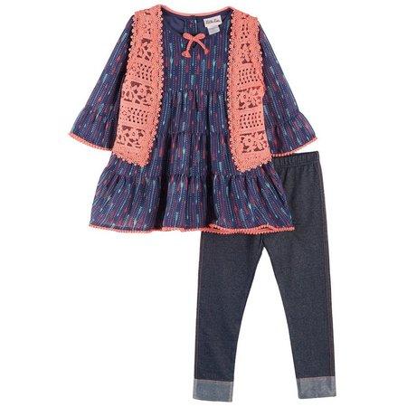 Little Lass Little Girls 3-pc. Crochet Vest Set