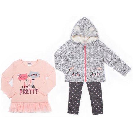 Little Lass Little Girls 3-pc. Cat Sweater Leggings
