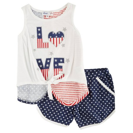 Freestyle Little Girls American Love Shorts Set