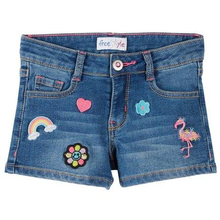 Freestyle Little Girls Patch Denim Shorts
