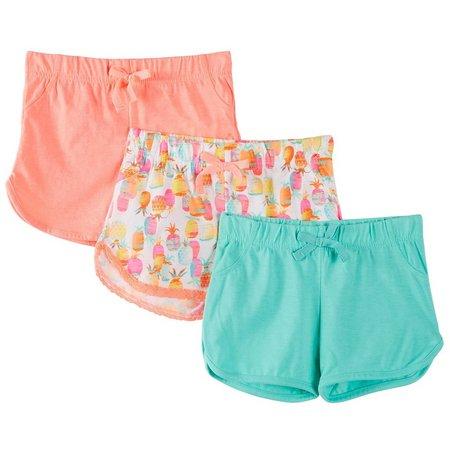 Freestyle Little Girls 3-pk. Pineapple Shorts