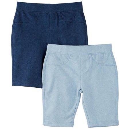 New! Freestyle Little Girls 2-pk. Denim Pull-On Shorts