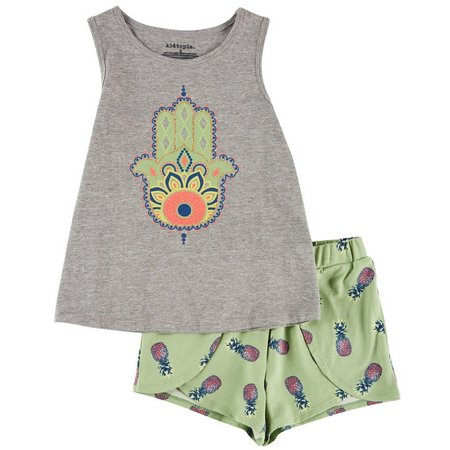 Kidtopia Little Girls Pineapple Shorts Set