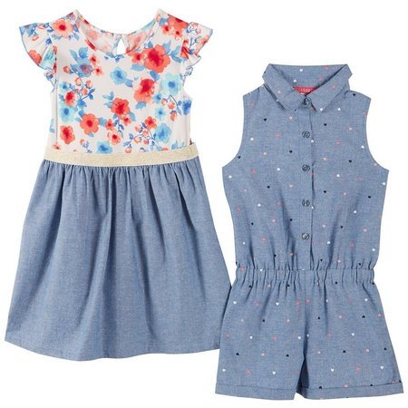 Kidtopia Little Girls 2-pk. Romper & Dress Set