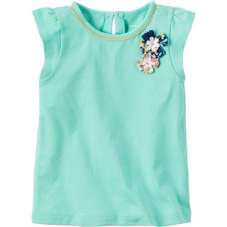Carters Little Girls Solid Rosette T-Shirt
