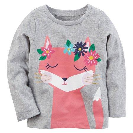 Carters Little Girls Glitter Fox Long Sleeve T-Shirt