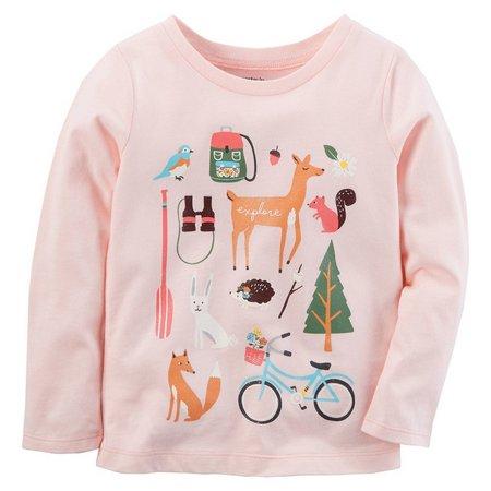 Carters Little Girls Explore Long Sleeve T-Shirt