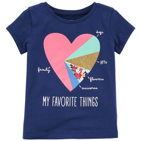 Carters Little Girls My Favorite Things Heart T-Shirt