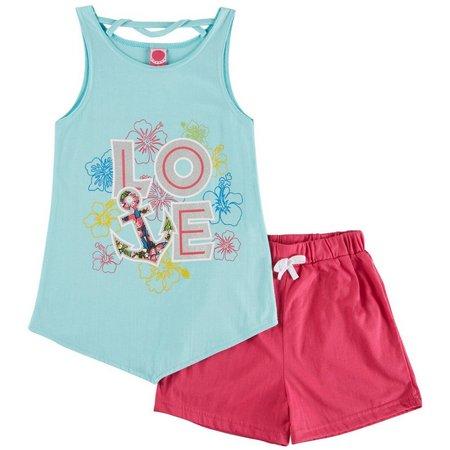 Dot Pink Big Girls Love Shorts Set