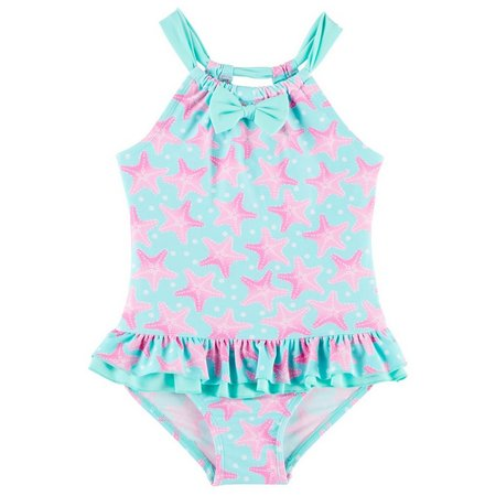 Floatimini Little Girls Starfish Ruffle Swimsuit