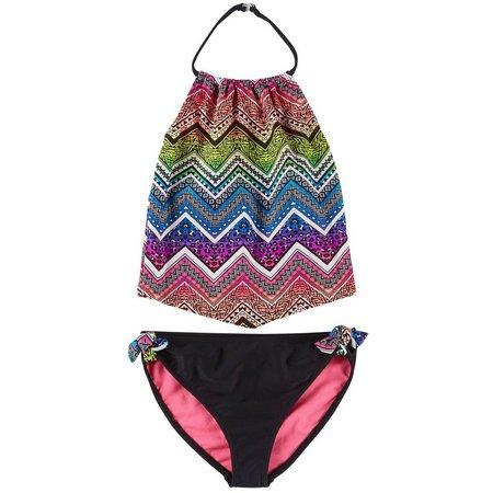 Angel Beach Big Girls Chevron Jungle Tankini Swimsuit