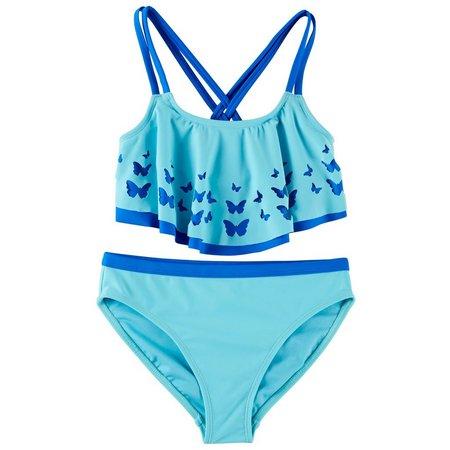 Angel Beach Big Girls Butterfly Flounce Bikini Swimsuit