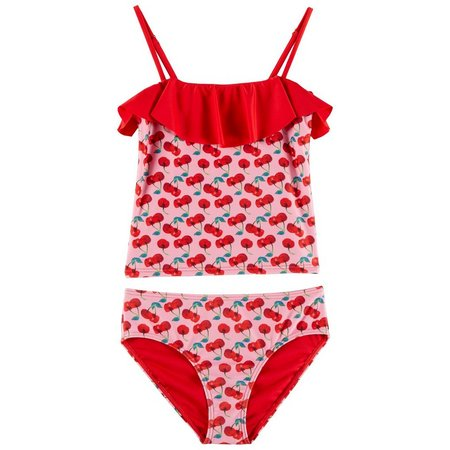 Jantzen Little Girls Cherries Flounce Tankini Swimsuit