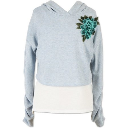 Speechless Big Girls Floral Embroidered Pullover Hoodie