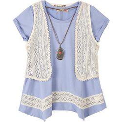 Speechless Big Girls Crochet Vest Duet Top