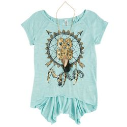 Beautees Big Girls Dreamcatcher Owl T-Shirt