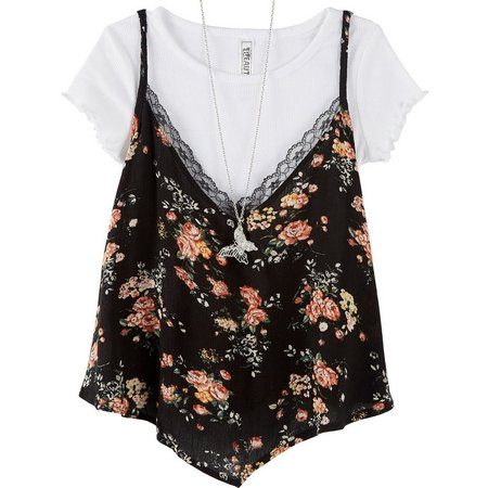 Beautees Big Girls Floral Duet Top