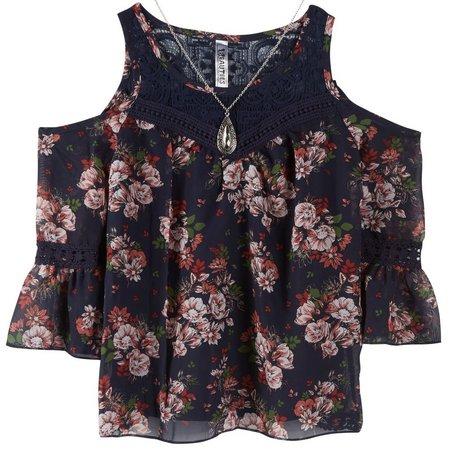 Beautees Big Girls Cold Shoulder Floral Top