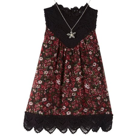Beautees Big Girls Crochet Floral Tank Top