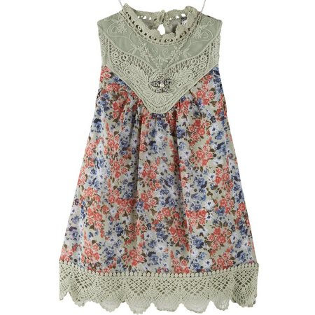 Beautees Big Girls Crochet Trim Floral Tank Top