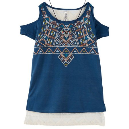 Beautees Big Girls Tribal Cold Shoulder Top