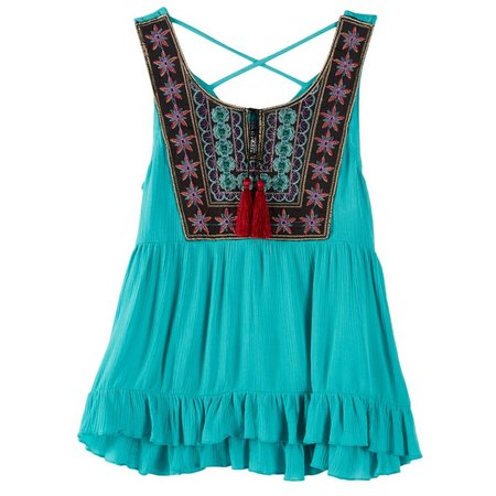 Beautees Big Girls Floral Embroidered Tank Top