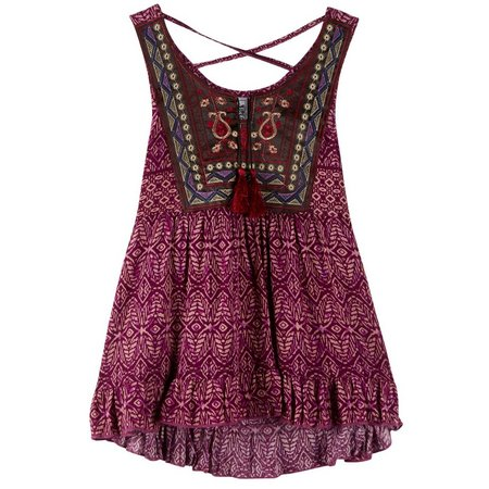Beautees Big Girls Embroidered Tank Top